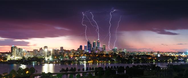 caida de rayos en ciudades