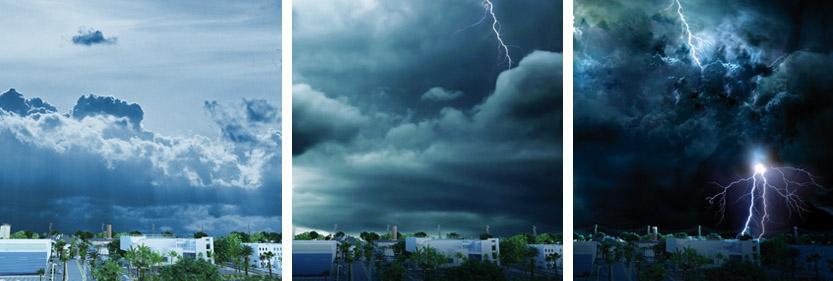 formación del rayo en una tormenta eléctrica