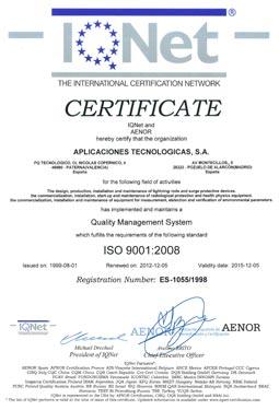 Aplicaciones Tecnológicas obtém novamente o certificado de qualidade ISO 9001