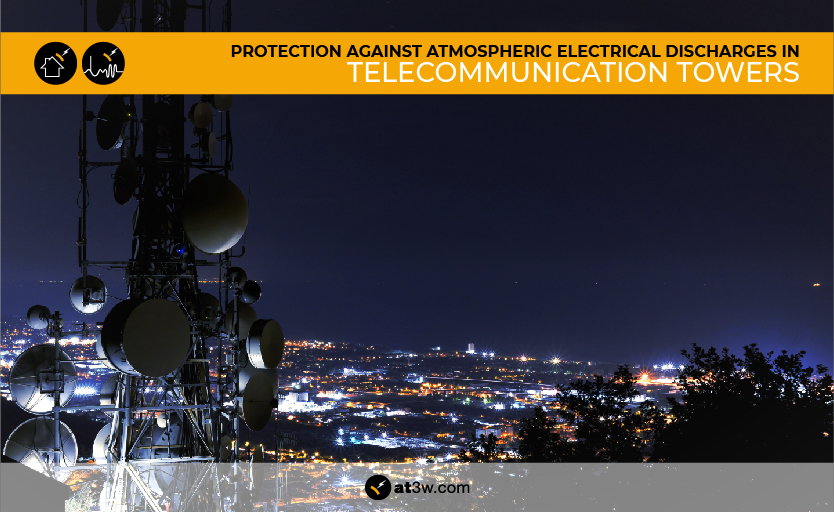 Protection against atmospheric electrical discharges in telecommunication towers