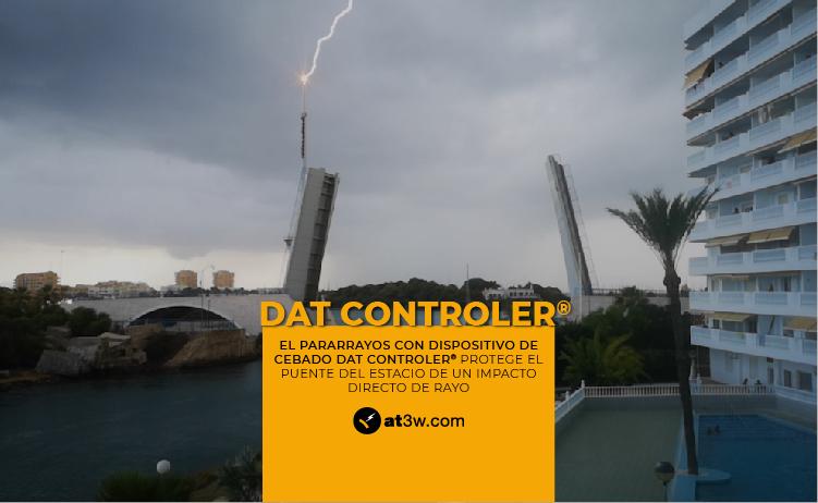 El dispositivo de cebado DAT CONTROLER® de Aplicaciones Tecnológicas protege el Puente del Estacio de un impacto directo de rayo.